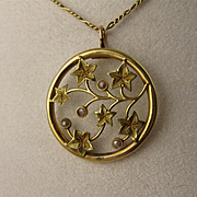 Beautiful Antique Victorian 18K Gold & Pearl Ivy Pendant, Round