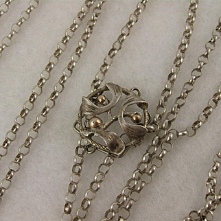 Antique French Silver 'Mistletoe' Slider Extra Long Guard Chain Necklace / Satoir, 55""