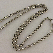 """Antique Silver Mid-Length Belcher Round Link Chain Necklace w/ Dog Clip Clasp, 25"""""""