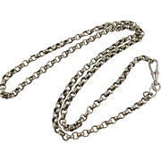 Antique Silver Mid-Length Belcher Round Link Chain Necklace w/ Dog Clip Clasp, 25""