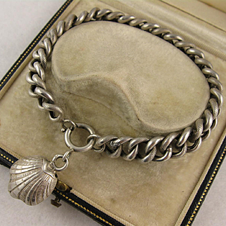 Antique 1800s French Silver 'Oyster' Shell Charm Curb Link Bracelet