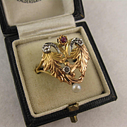 Antique 1800s French 18K Rose Gold Ruby Diamond Ornate Ring, Victorian, Large Face