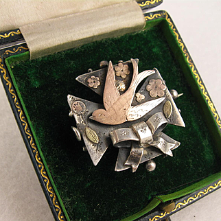 Beautiful Antique Victorian Sterling Silver & Two-Colour 9K Gold Swallow Bird Maltese Cross Brooch Pin, Large, Hallmarked