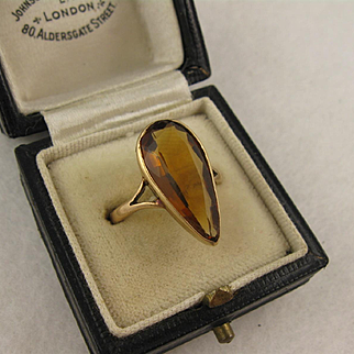 Antique Edwardian 9K Gold & Citrine Long Navette Ring, Large Stone