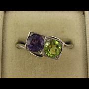 Unusual Antique Edwardian - 1920s Amethyst & Peridot 'Traffic Light' Silver Ring, Purple Green, Deco