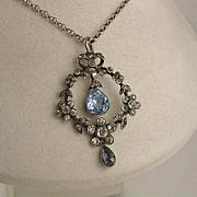 Antique Edwardian Silver Sapphire Blue Foiled Paste Pendant - Flower, Bow, Large, Paste Diamond