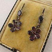 Antique Georgian Garnet & 9K Gold Five-Petal Flower Earrings, Long, Dangly, Pansy