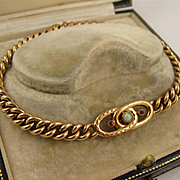 Antique 1900 Opal, Ruby, 9K Rolled Gold Curb Chain Bracelet - late Victorian - Edwardian, Double Filled