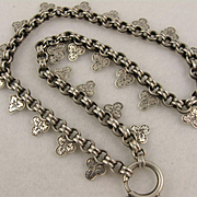 Antique Victorian Chunky Sterling Silver 'Shamrocks' Engraved Clover Collar Chain Necklace, Bolt Ring Clasp