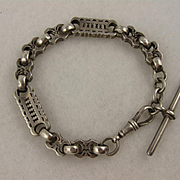 Antique Victorian Chunky Sterling Silver Albertina Watch Chain Bracelet w/ T-Bar Charm