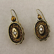 Antique Victorian Pinchbeck Gold & Paste Diamond Ornate Oval Drop Earrings