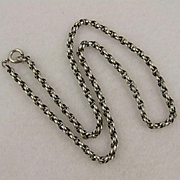 Antique Victorian Silver Twist Link Collar Chain Necklace, 18 inch