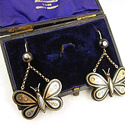 Superb Antique 1800s Victorian Pique 'Butterfly' Gold & Silver Inlaid Large Long Statement Earrings - Big, Rare, Boxed