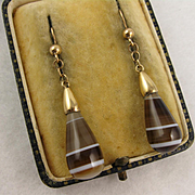 Antique Victorian Banded Scottish Agate 9K Gold Long Dangly Earrings - Brown, Caramel, White