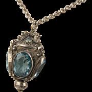 Unusual Antique 1910s Blue Paste 'Lantern' Faceted Pendant, Large, Silver Metal