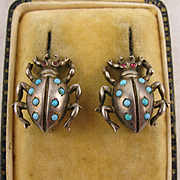 Antique Edwardian Silver, Turquoise and Garnet Beetle Insect Earrings - Clip On Fittings