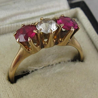 Colourful 9K Rose Gold Claw-Set Ruby Pink & White Paste Three Stone Ring