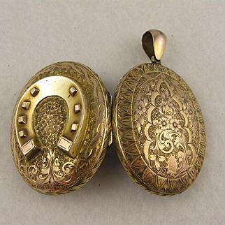 Extra Large Antique Victorian 9K Gold Engraved Big Horse Shoe Double Locket Pendant, Big, Oval, Horseshoe
