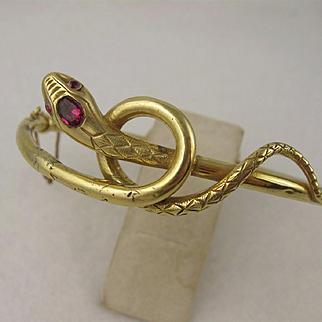 Antique 1800s Victorian 18K Gold Coiled Snake Bangle Bracelet, Ruby Set