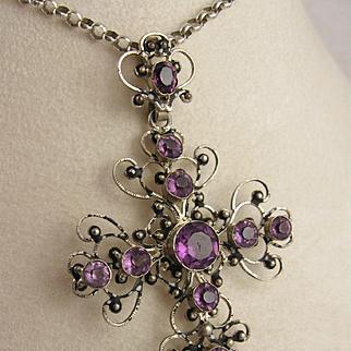 Antique 1800s Victorian Large Purple Paste Filigree Cross Pendant, Silver Metal