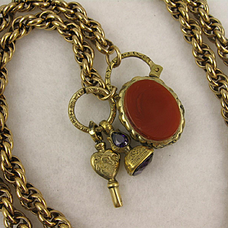 Antique Victorian Long Pinchbeck Twist Chain Necklace w/ Carnelian Agate Padlock Clasp, Key Fob Charms