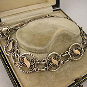 Antique 1800s French Silver & Rose Gold Round Filigree Link Bracelet w/ Charm, Victorian, Large Wrist