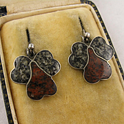 Antique Victorian Silver & Scottish Agate Leaf Earrings, Marbled Red & Grey / Green