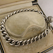 Antique 1800s French Silver Textured Curb Link Chain Bracelet w/ Ball Charm