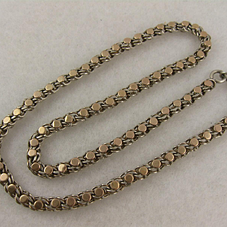 Antique 1800s French Silver & Rose Gold Short Chain Necklace / Bracelet, Victorian