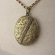Antique Victorian 9K Gold Double-Sided Greek Key & Engraved Flower Locket Pendant, Oval