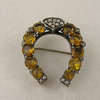 Antique Victorian Silver, Citrine Pearl Large 'Horseshoe' Brooch Pin, Horse Shoe