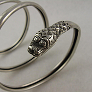 Antique Victorian Three-Coil Silver Snake Bangle Bracelet, Coiled, Wrap Around