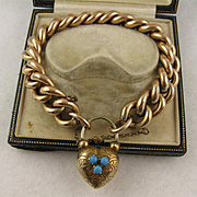 Antique Victorian Substantial Curb Link & Engraved Heart Padlock Bracelet, Rolled Gold, Pinchbeck & Turquoise, Large