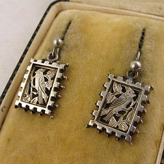 Antique Victorian Silver 'Parakeet' Bird Earrings - Aesthetic Movement, Parrot, Rectangular / Square