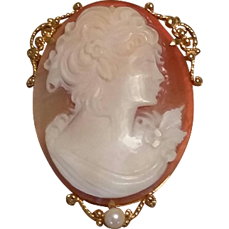 14K Yellow Gold Carved Shell Lady CAMEO Pendant Brooch Pin