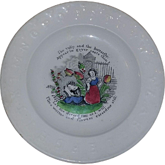 Antique Staffordshire Child's ABC PLATE Tulip & Butterfly Motto Poem