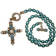 BARBARA BIXBY Sterling Silver & 18K Gold Teal HONORA PEARL Necklace  Gold Blue Topaz / White Pearls Amazing Grace Cross ENHANCER