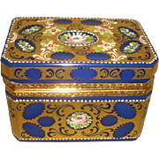 Vintage ENAMELED GILT BLUE Opaline Glass Hinged Casket Box Ormolu Mount