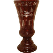 "Large Bohemian Ruby Red Cut to Clear Glass Vase ~ Castle 12"" Height"