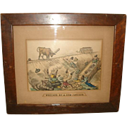 "Antique 1885 Currier & Ives ""Wrecked by a Cow Catcher"" Print BLACK AMERICANA Large Folio Color Lithograph Reframed"