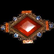 Vintage ART DECO Enameled Carnelian Copper Pin