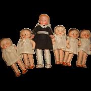 Vintage DIONNE QUINTUPLETS & Nanny Nurse DOLLS Set ~ c1940 Made in Japan Bisque Quints