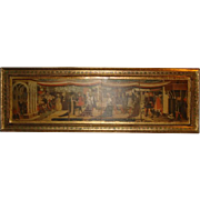"""ITALIAN FLORENTINE Tole Wood PLAQUE with Gilt Frame & Art Print ~ (33"""" x 10.5"""" Solid Wood Panel)"""