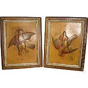 PAIR Hunting GAME BIRD Embossed Art Prints in 1890's Victorian Eastlake Faux Marble Picture Frames (14x18)