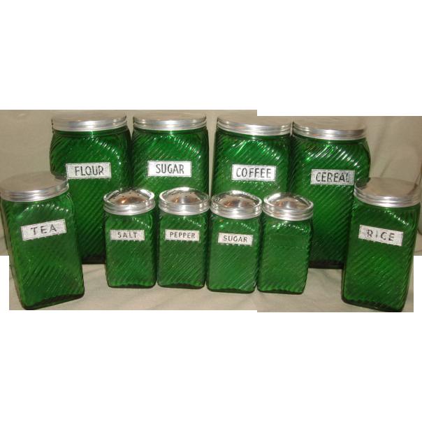 owens illinois forest green ribbed depression glass canister jars sold ruby lane. Black Bedroom Furniture Sets. Home Design Ideas