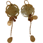 Vintage Carved JADE EARRINGS with Faceted Moonstone Drops ~ 14K Gold Filled Wires
