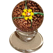 KAZIUN PEDESTAL PAPERWEIGHT Yellow Spider Lily On Adventurine Ground with Original Sleeve & Box