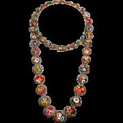 """Art Deco Venetian MURANO Moretti MILLEFIORI Glass Bead Necklace 28"""" Vintage 1920's"""