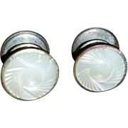 "Vintage Art Deco MOTHER OF PEARL Cufflinks - Snap Link Cuff Links 5/8"" wide"