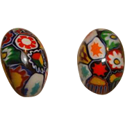 Art Deco Italian MURANO Moretti MILLEFIORI Glass BeadClip On Earrings